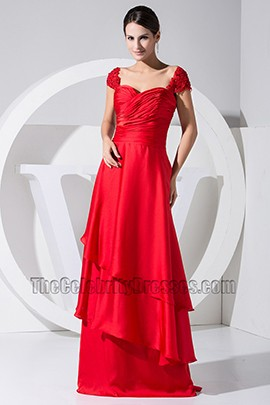 New Style Red Cap Sleeve Prom Dress Evening Formal Dresses