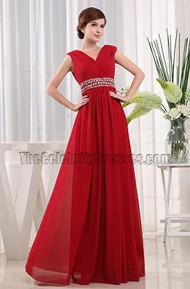 New Style Red V-neck Beaded Prom Dress Evening Dresses