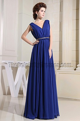 New Style Royal Blue V-neck Prom Gowns Evening Dresses