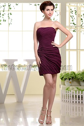 New Style Short Burgundy Chiffon Cocktail Dresses Party Dress