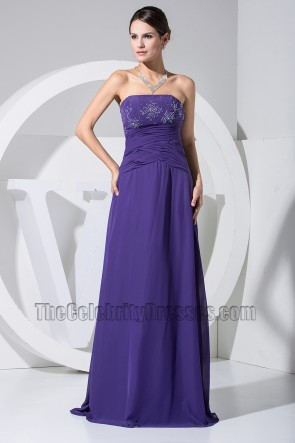 New Style Strapless A-Line Beaded Prom Dress Evening Gown
