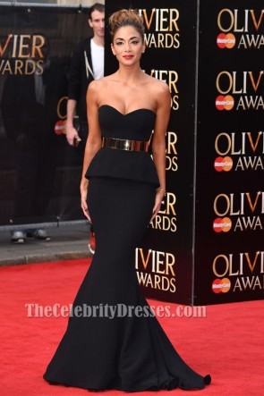 Nicole Scherzinger Black Mermaid Formal Dress 2015 Oliver Awards Red Carpet Gown TCD6858