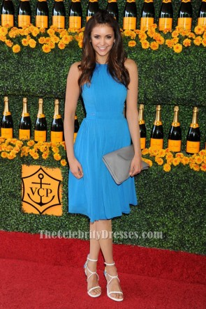 Nina Dobrev Blue Cocktail Party Dress 6th Annual Veuve Clicquot Polo Classic TCD6358