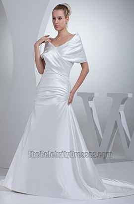 Off-The-Shoulder Sweep/ Brush Train A-Line Wedding Dress