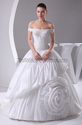 Off-The-Shoulder Taffeta Ball Gown Wedding Dresses