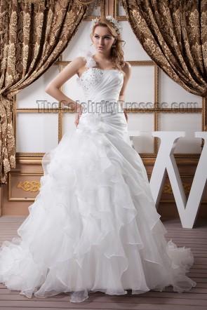 One Shoulder A-Line Beaded Brush Train Wedding Dresses