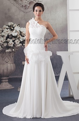 One Shoulder A-Line Chiffon Sweep/Brush Train Wedding Dress