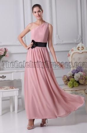 One Shoulder Floor Length Bridesmaid Prom Dresses