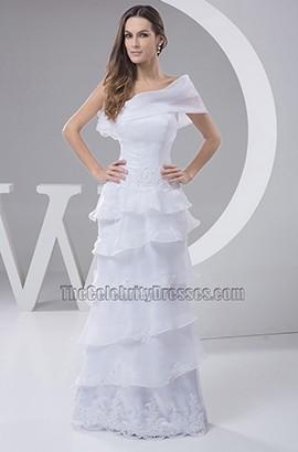 Sheath/Column One Shoulder Floor Length Chiffon Wedding Dress