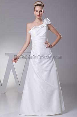 One Shoulder Floor Length Taffeta Wedding Dress
