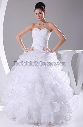 Organza Strapless Sweetheart Ruffled Ball Gown Wedding Dress