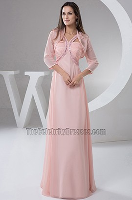 Pearl Pink Chiffon Bridesmaid Formal Dresses With A Wrap