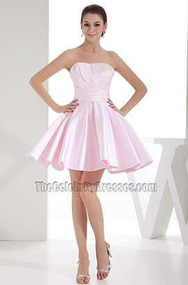 Cute Pearl Pink Strapless A-Line Homecoming Party Dresses