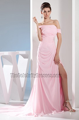 Pink Chiffon Off-the-Shoulder Prom Dress Evening Gown