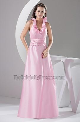 Pink Halter A-Line Floor Length Prom Gown Evening Dress