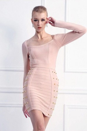 Pink Long Sleeve Short Cocktail Party Dresses Bandage Dress With Rivet TCD5900