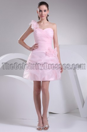 Cute Pink Tulle One Shoulder Homecoming Party Dresses