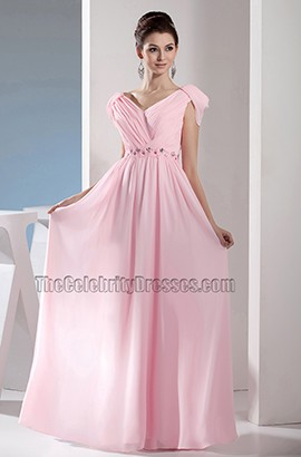 Pink Chiffon Floor Length Prom Gown Evening Bridesmaid Dresses