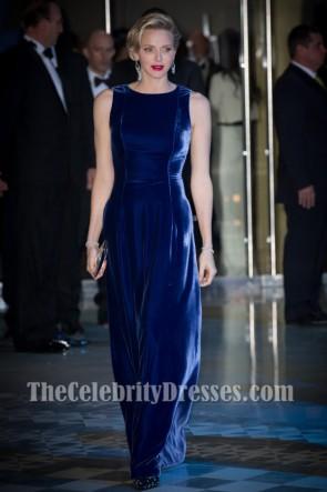 Princess Charlene Royal Blue Velvet Evening Dresses 'MONAA' Charity Gala
