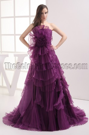 Celebrity Inspried Purple Strapless A-Line Formal Prom Dresses