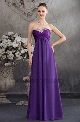 Long Purple Strapless Chiffon Bridesmaid Evening Prom Dresses