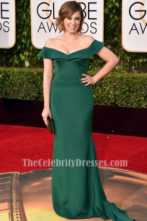Rachel Bloom Dark Green Off-the-shoulder Formal Dress golden globes 2016 TCD6497