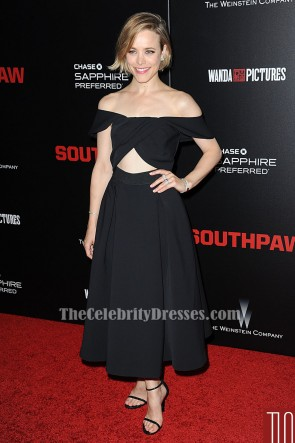 Rachel McAdams Black Off-Shoulder Cocktail Evening Dress 'Southpaw' New York Premiere TCD6230