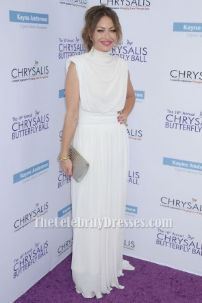 Rebecca Gayheart Draped White Evening Gown 16th Annual Chrysalis Butterfly Ball TCD7267