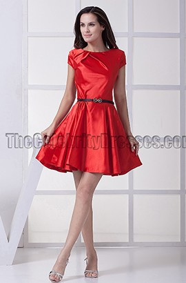 Chic Red A-Line Graduation Party Homecoming Dresses