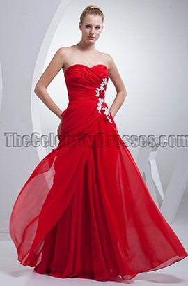 Red Strapless Floor Length Prom Gown Evening Dress