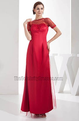 Red Short Sleeves Prom Gown Evening Formal Dresses