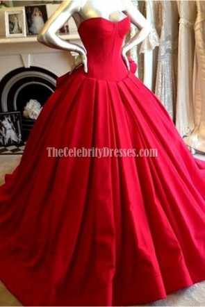 Classic Red Strapless Sweetheart Ball Gown Evening Formal Dresses TCD6225