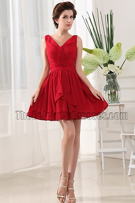 New Style Red V-neck Party Dress Cocktail Homecoming Dresses