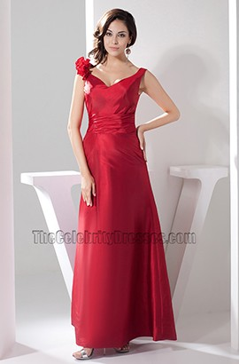 Long Red V-Neck Evening Gown Prom Dresses