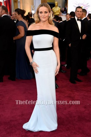 Reese Witherspoon White And Black Formal Dress Oscars 2015 Red Carpet TCD6067