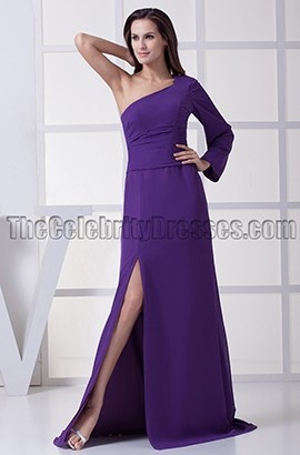 Regency One Sleeve Evening Gown Prom Formal Dresses