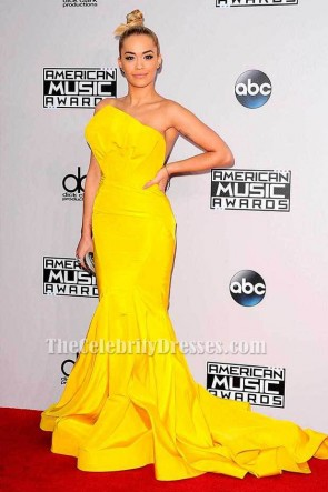Rita Ora Yellow Mermaid Formal Dress 2014 American Music Awards Red Carpet TCD6097