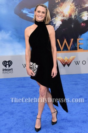 Robin Wright Black Velvet Prom Party Dress 'Wonder Woman' LA Premiere TCD7262