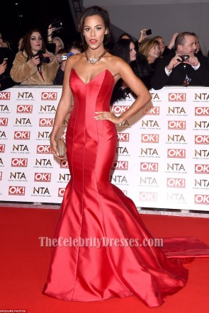 Rochelle Humes Red Mermaid Formal Dress 2015 National Television Awards TCD6030
