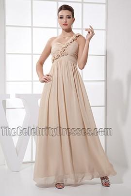 Champagne One Shoulder Prom Dress Bridesmaid Dresses
