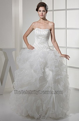 Romantic Strapless A-Line Full Length Wedding Dress With Beading