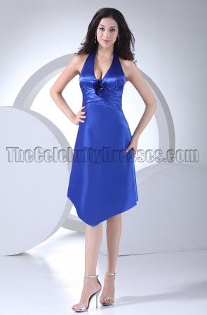 Discount Royal Blue Halter Cocktail Bridesmaid Dresses