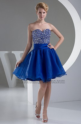 Royal Blue Strapless Beaded Party Homecoming Dresses