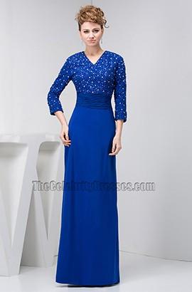 Royal Blue V-Neck Floor Length Formal Gown Evening Dress