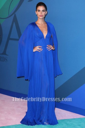 Sara Sampaio Royal Blue Deep V-Neck Evening Dress 2017 CFDA Fashion Awards TCD7269