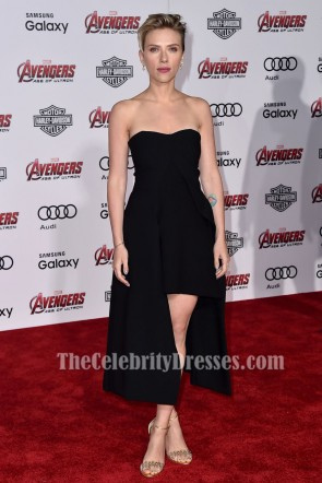 Scarlett Johansson Black Cocktail Party High Low Dress Avengers Age of Ultron Premiere TCD6861
