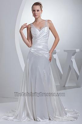 Sexy A-Line Silk Like Satin V-Neck Wedding Dress Bridal Gown