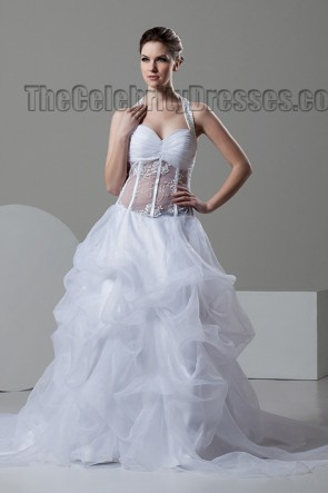 Sexy A-Line Sweetheart Halter See Through Wedding Dress