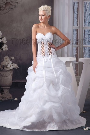 Sexy A-Line Sweetheart Strapless Lace Up Chapel Train Wedding Dress