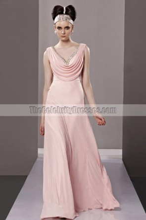 Sexy Backless Pink Drop Neckline Beaded Evening Dresses